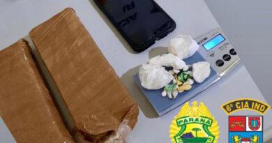 PM apreende drogas que seriam arremessadas na cadeia de Ivaiporã