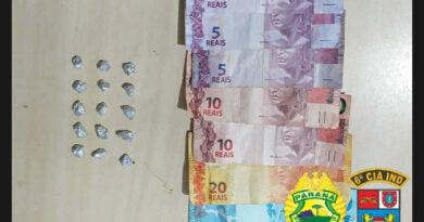 Suspeito de tráfico em Ivaiporã é preso com 15 pedras de crack