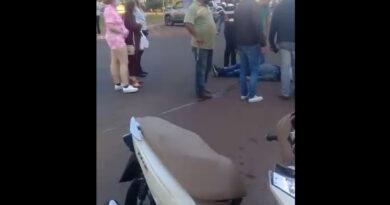 Motociclista fica ferido em acidente no centro de Ivaiporã